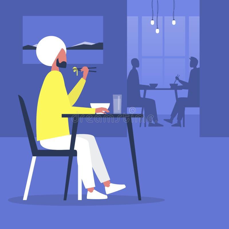 Joven personaje masculino indio comiendo fideos con palillos en un moderno restaurante oriental, comiendo fuera libre illustration