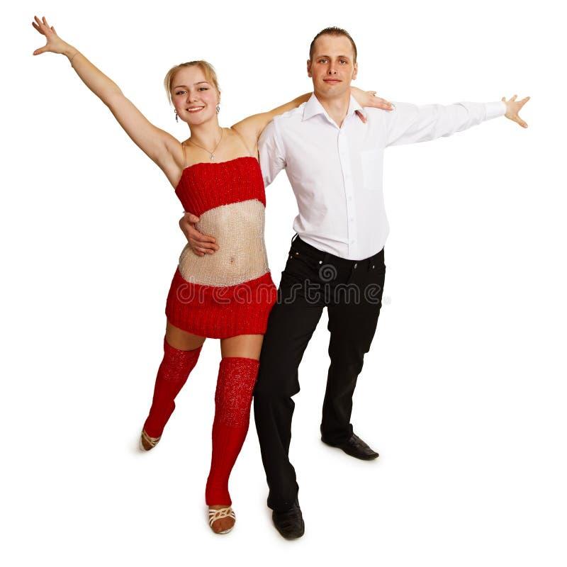 Jovens alegre de dança no branco fotografia de stock
