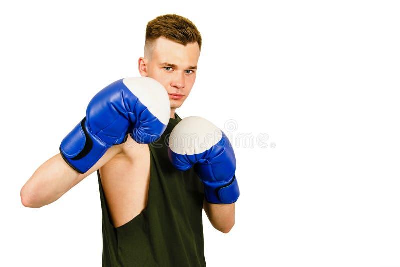 Jovens boxer em luvas de boxe azul isoladas em um fundo branco imagem de stock