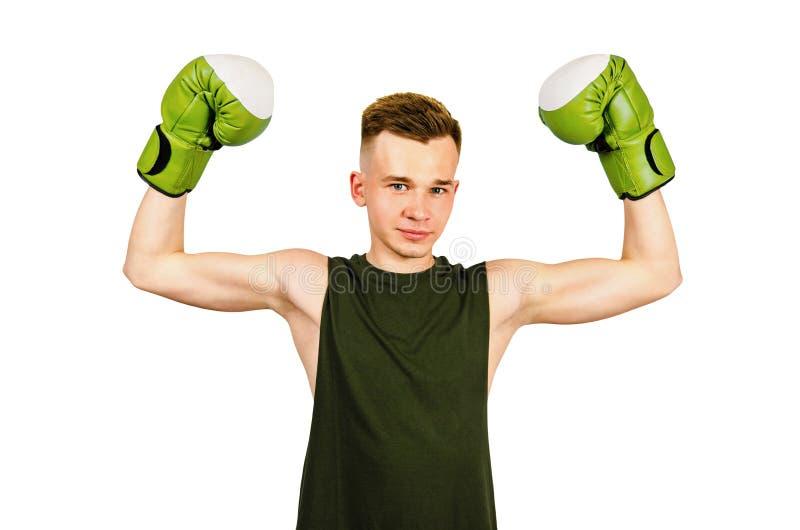 Jovens boxer em luvas verdes isoladas em um fundo branco imagens de stock royalty free
