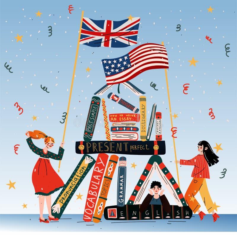 Jovens com as bandeiras dos livros, as britânicas e as americanas ilustração do vetor