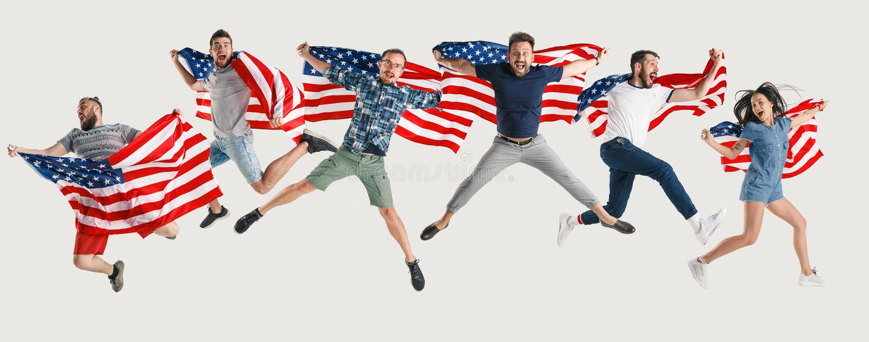Jovens com a bandeira do Estados Unidos da América foto de stock