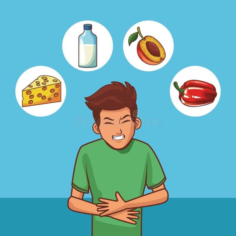 Jovens com dor de estômago ilustração do vetor