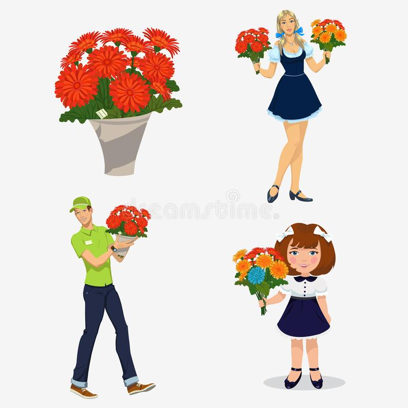 Jovens com flores ilustração do vetor