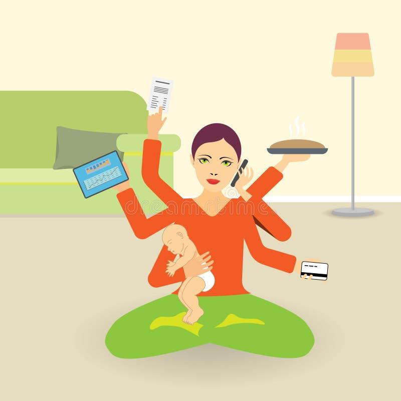 Jovens com seis mãos a fazer muitas atividades ao mesmo tempo: meditar, segurar um bebê, cozinhar, falar ao telefone, trabalhar ilustração stock