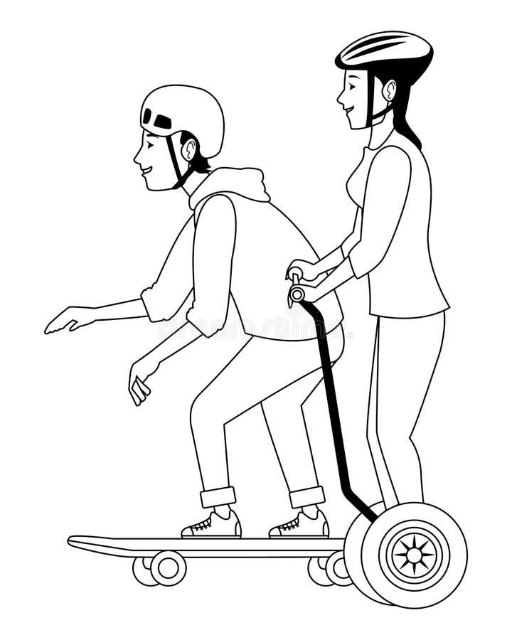 Jovens com skate e o 'trotinette' elétrico em preto e branco ilustração stock