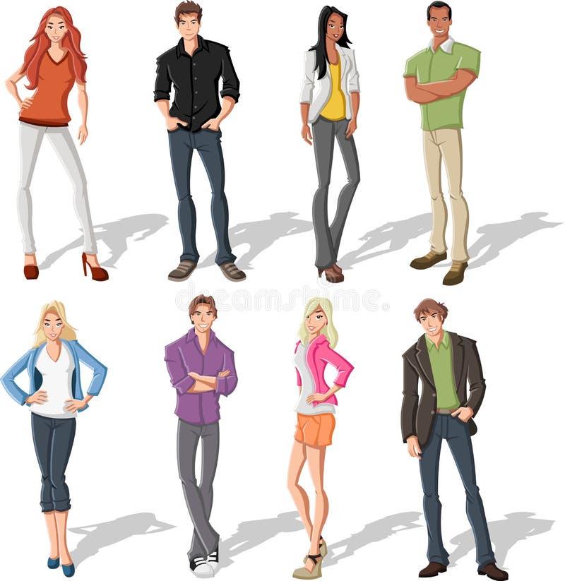 Jovens dos desenhos animados ilustração royalty free