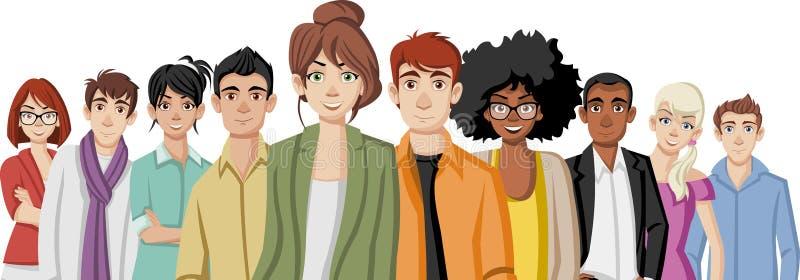 Jovens dos desenhos animados ilustração do vetor