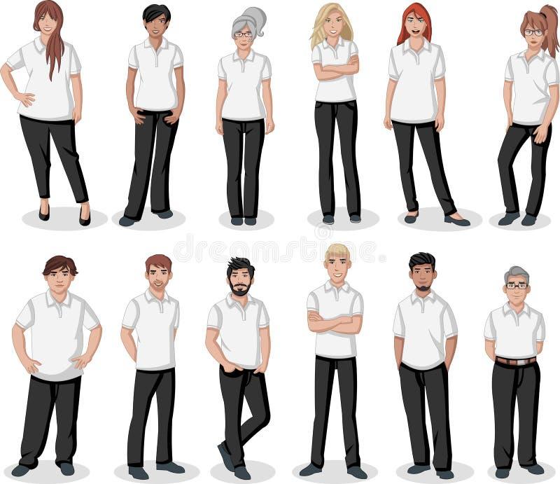Jovens dos desenhos animados do negócio ilustração royalty free