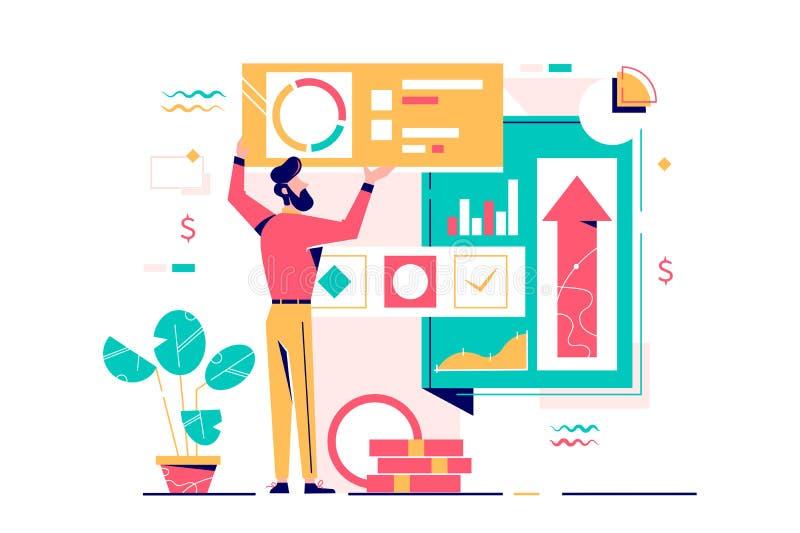 Jovens empresários contratados gerenciam finanças usando o diagrama ilustração stock