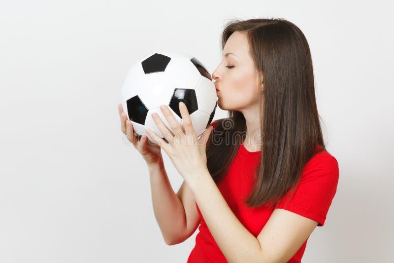 Jovens, fan de futebol ou jogador europeu bonito no fundo branco Esporte, jogo, saúde, conceito saudável do estilo de vida imagem de stock royalty free