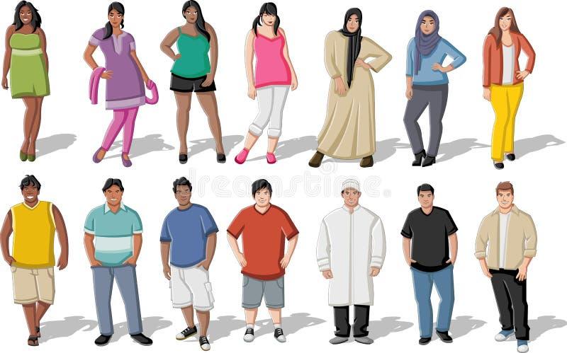 Jovens gordos ilustração stock
