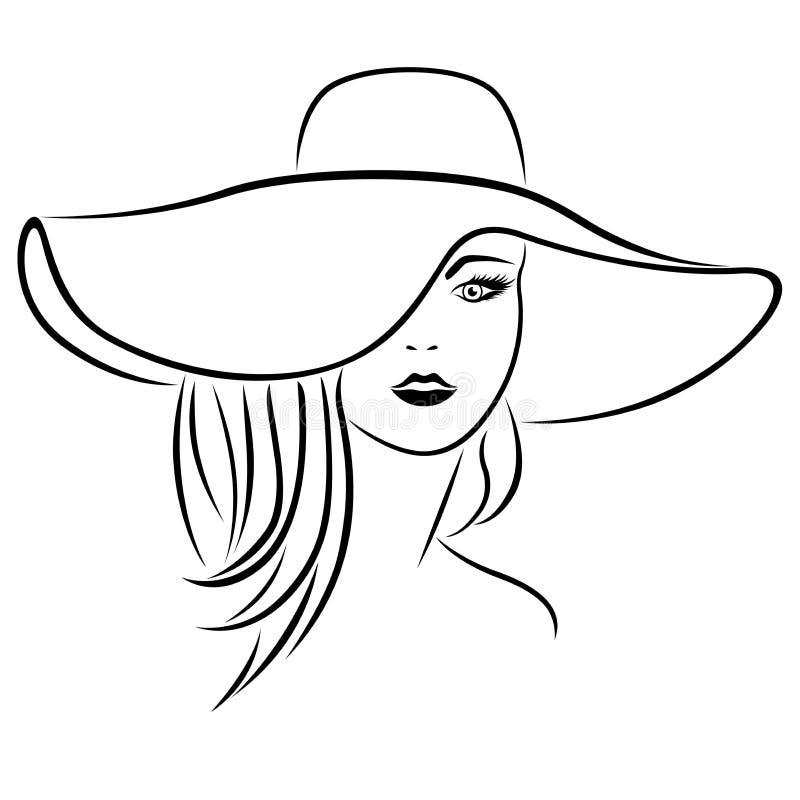 Jovens mulheres atrativas abstratas no chapéu ilustração stock