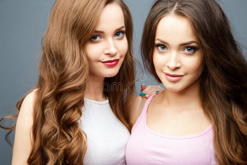 Jovens mulheres bonitas dos gêmeos na roupa ocasional sobre o fundo cinzento Retrato da forma da beleza imagens de stock