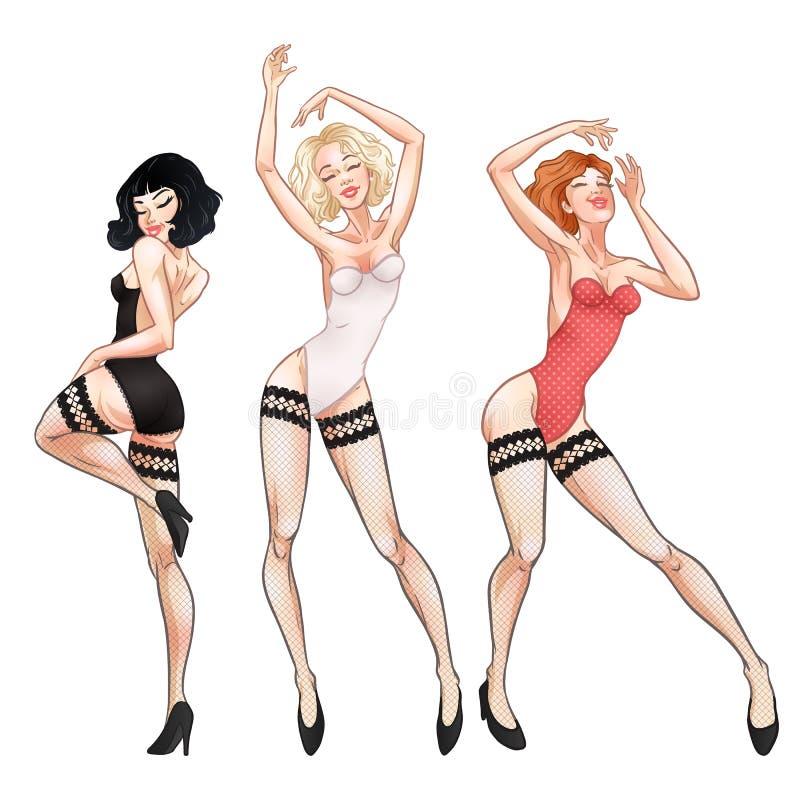 Jovens mulheres bonitas que dançam no roupa interior, na morena, no louro e no ruivo vermelhos, meninas 'sexy' quentes, clube, bu ilustração do vetor