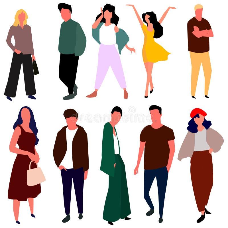 Jovens mulheres e homens bonitos na roupa da forma Vetor ilustração do vetor