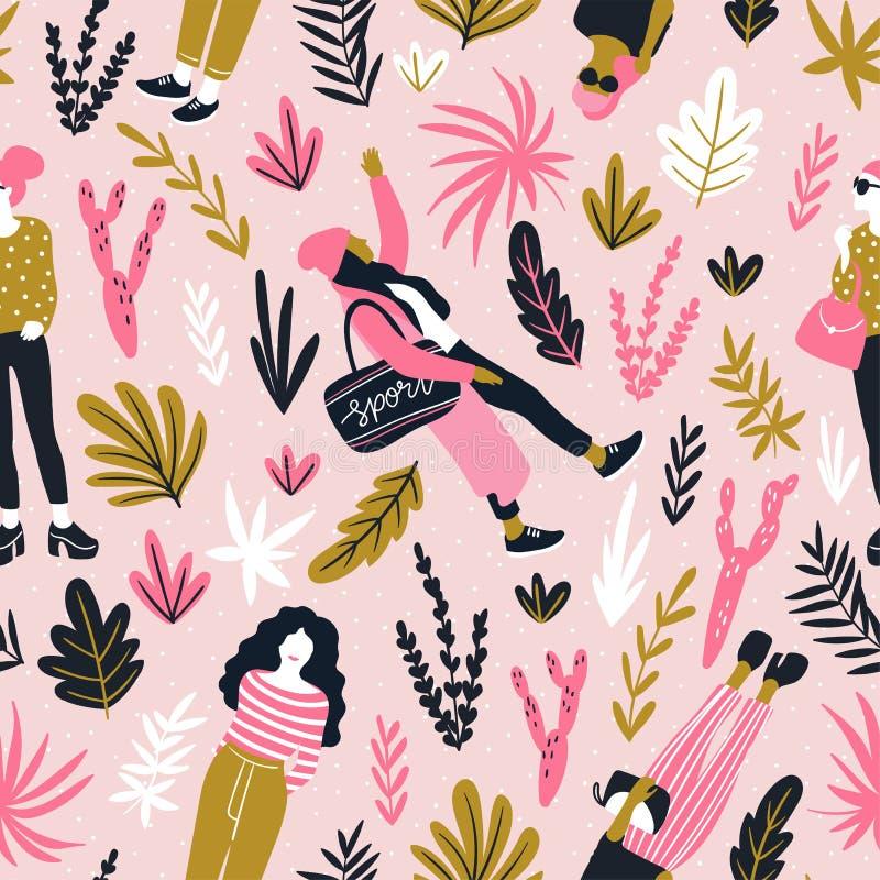 Jovens mulheres elegantes no estilo ocasional com as folhas tropicais no fundo cor-de-rosa do às bolinhas Teste padrão sem emenda ilustração stock