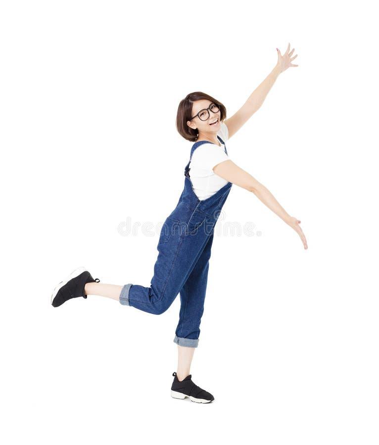Jovens mulheres entusiasmado felizes com os braços estendidos fotos de stock
