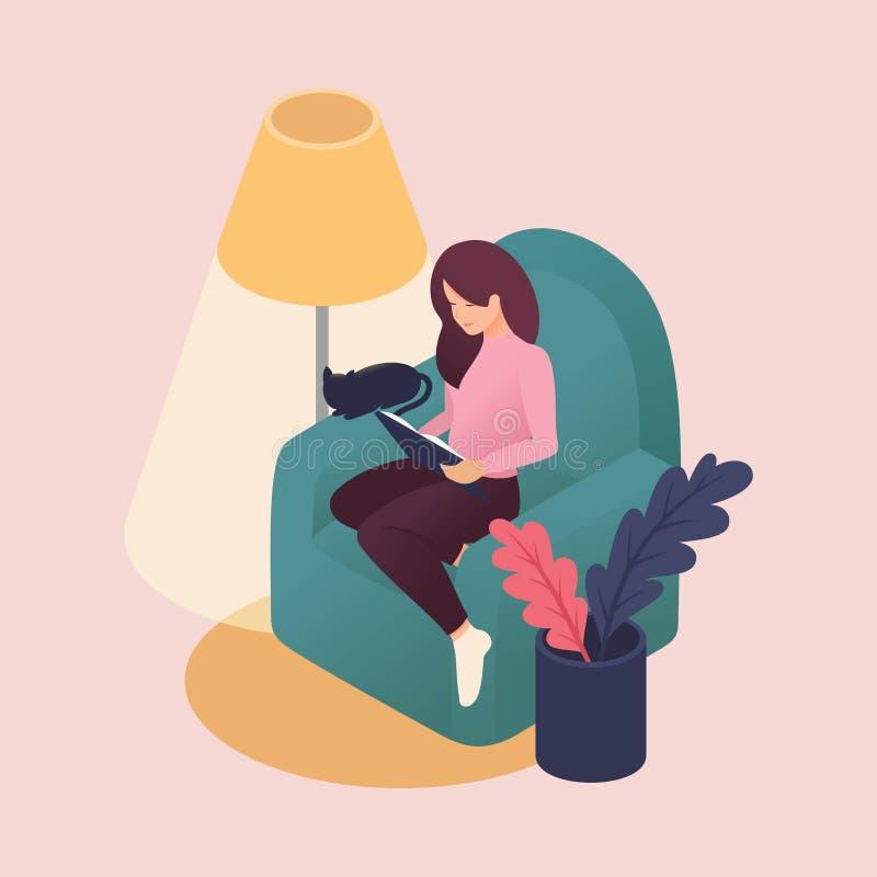 Jovens mulheres isométricas que passam o fim de semana em casa, livros de leitura, cuidados dos animais de estimação, gato do ami ilustração royalty free
