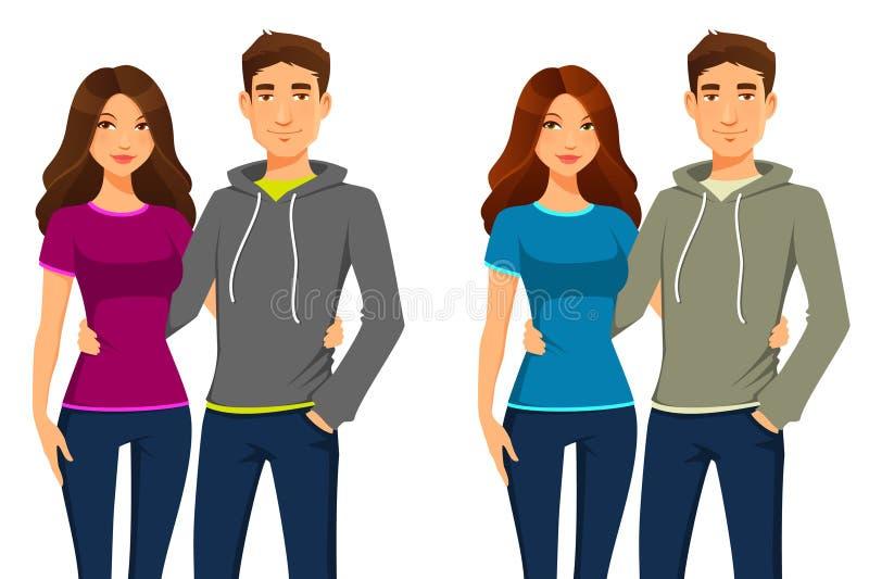 Jovens no equipamento ocasional ilustração stock