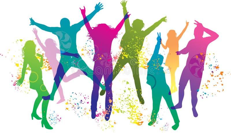 Jovens no partido. Os adolescentes da dança. ilustração royalty free