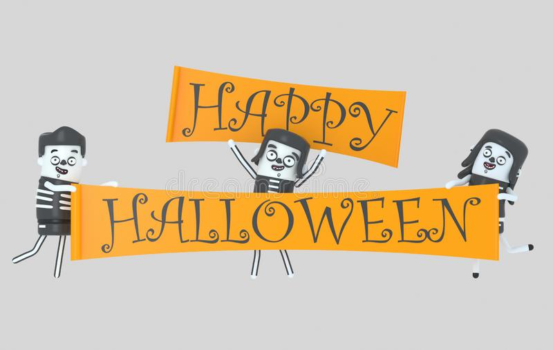 Jovens nos trajes que guardam a bandeira do Dia das Bruxas Halloween ilustração 3D ilustração do vetor