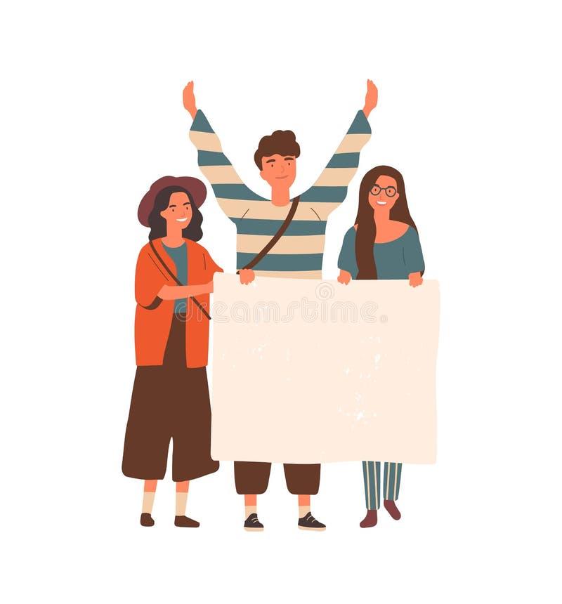 Jovens que apresentam a ilustração do vetor plano em branco de cartaz Protesto de estudantes, conceito de movimento social juveni ilustração royalty free