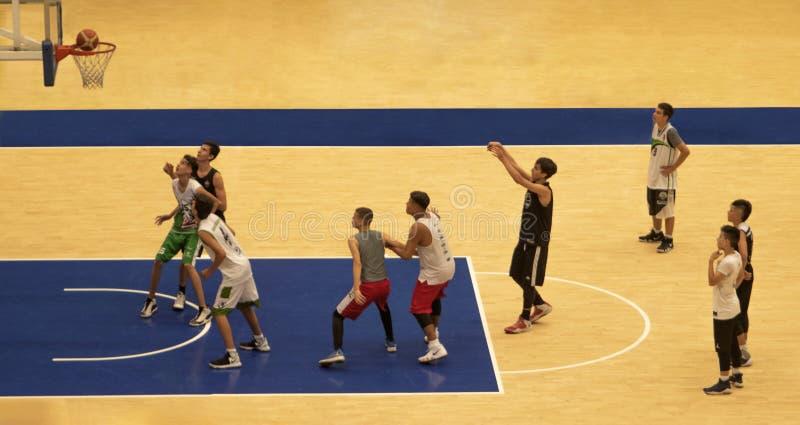 Jovens que jogam o basquetebol fotografia de stock royalty free