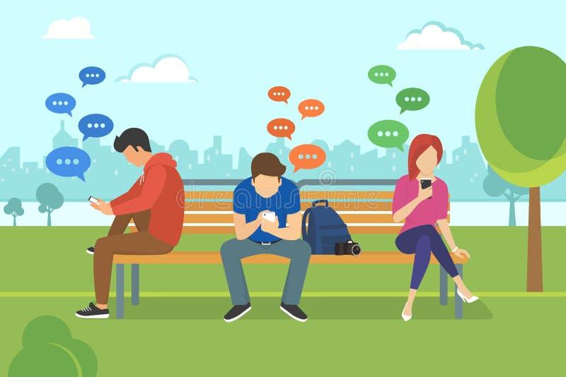 Jovens que sentam-se no parque e nas mensagens texting no bate-papo usando o smartphone móvel ilustração do vetor