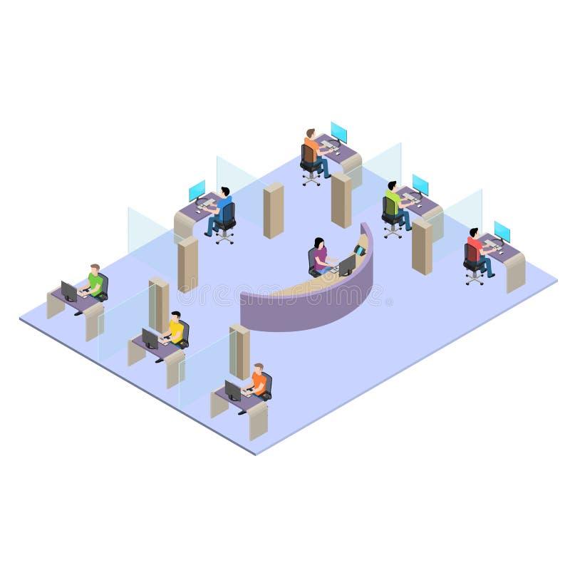 Jovens que trabalham no computador no escritório ilustração do vetor