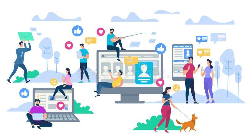 Jovens que usam dispositivos Trabalhos em rede sociais ilustração royalty free