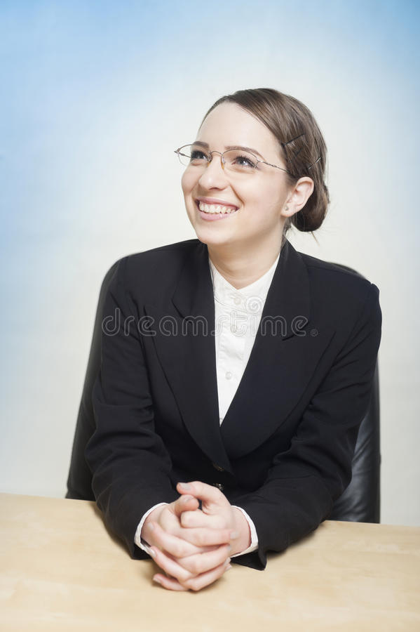 Jovial and happy business woman stock photo