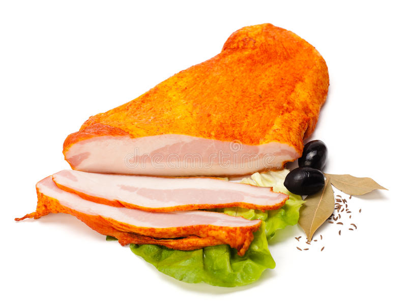 Jowl e fatias preparados da carne de porco imagem de stock