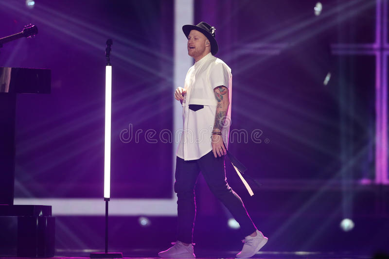 JOWST from Norway Eurovision 2017. KYIV, UKRAINE - MAY 10, 2017: JOWST from Norway at the second semi-final rehearsal during Eurovision Song Contest, in Kyiv royalty free stock photo