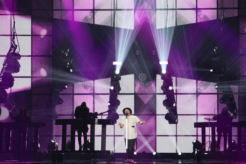 JOWST from Norway Eurovision 2017. KYIV, UKRAINE - MAY 10, 2017: JOWST from Norway at the second semi-final rehearsal during Eurovision Song Contest, in Kyiv stock image