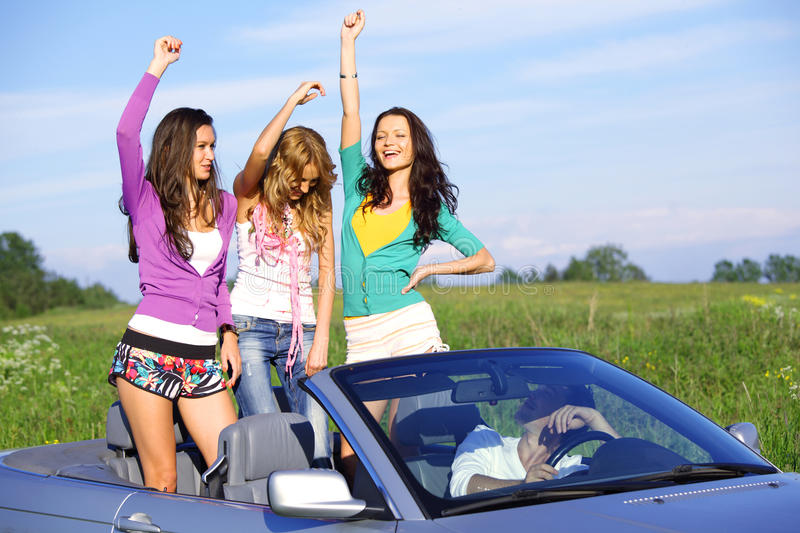 Download Joy in cabriolet stock photo. Image of friendship, friends - 17505006