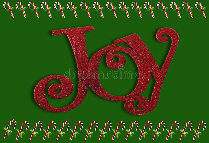 Joy and candy canes. Border on a green background vector illustration