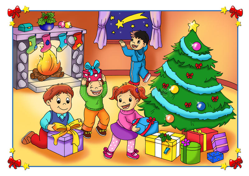 The joy of the Christmas. Color illustration of happy children that the Christmas has arrived
