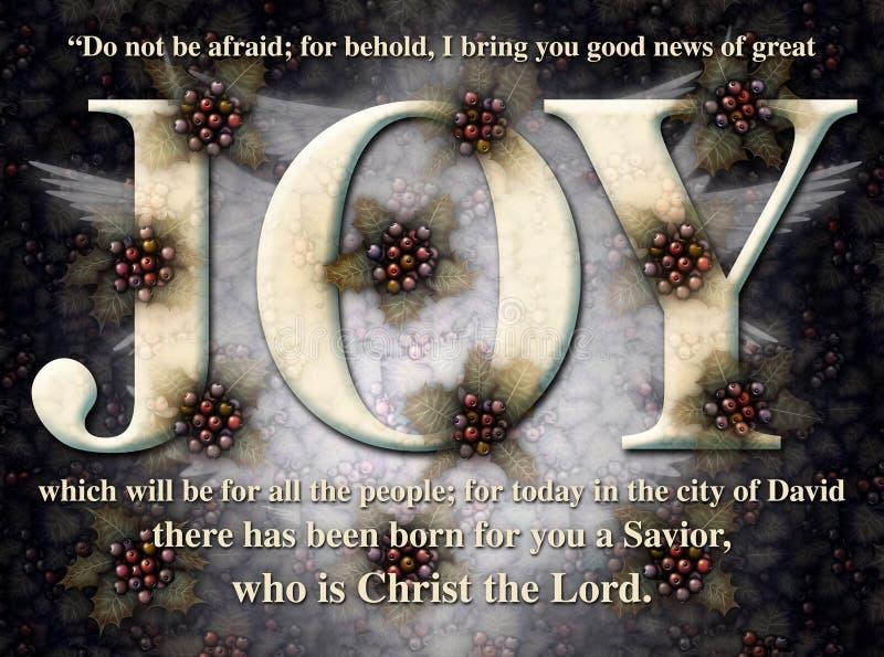 Joy Christmas Holly Angel Card illustration stock