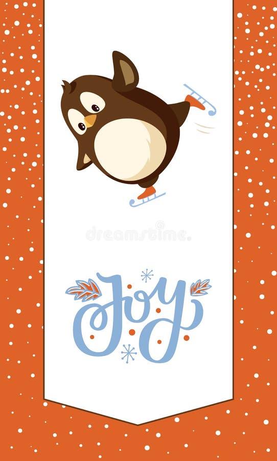Joy Greeting Card, pinguim no animal do vetor dos patins ilustração stock