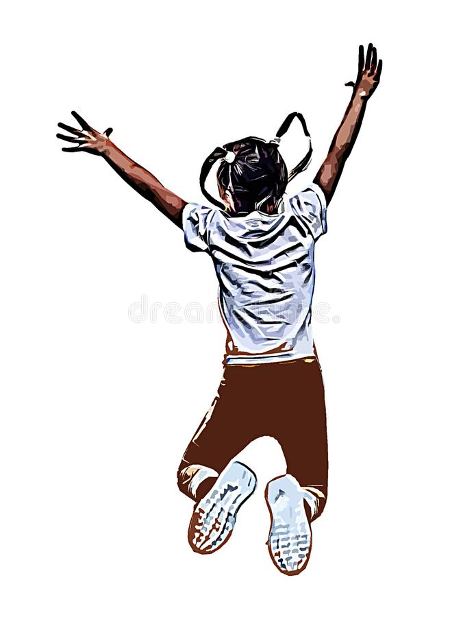 Joy , jump girl happiness sports and rest future and success people healthy way of life feeling and emotions, illustration, vector illustration