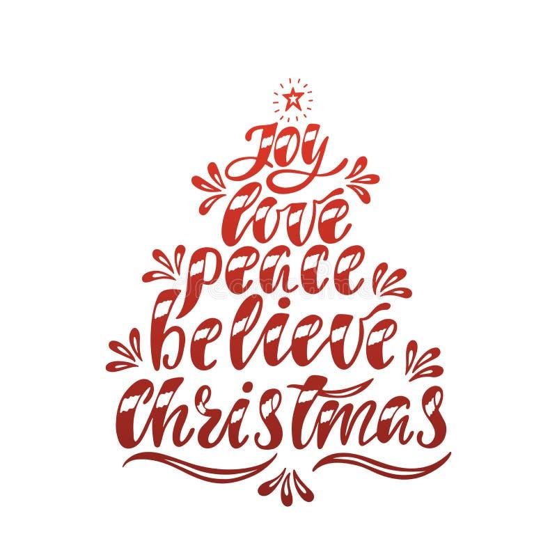 Joy Love Peace Believe Christmas Hand gezeichneter Kalligraphietext Feiertagstypographiedesign Weihnachtsmann auf einem Schlitten vektor abbildung