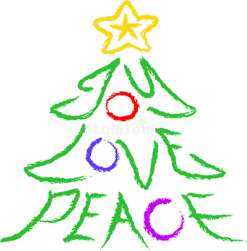 Joy-Love-Peace Tree. Crayon-type illustration of a Christmas Tree with the words joy, love, and peace