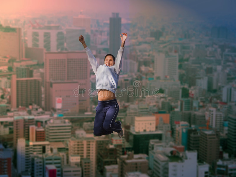 Download Joy over the big city stock image. Image of fitness, expression - 3390363