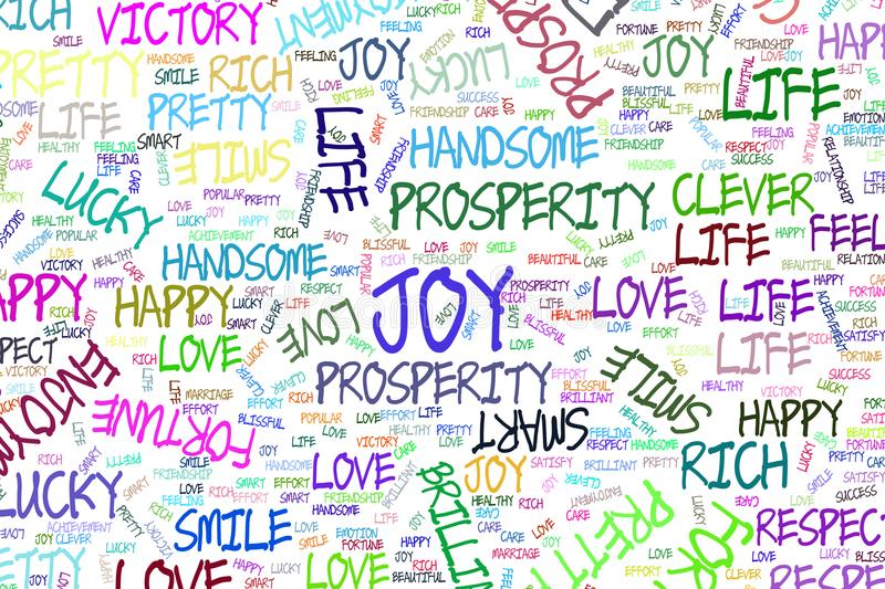 Joy, the positive emotion word cloud illustrations background abstract, hand drawn. Color, template, details & vector. royalty free illustration