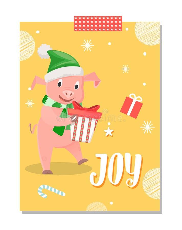 Joy Postcard, Piglet New Year Symbol with Gift Box stock illustration