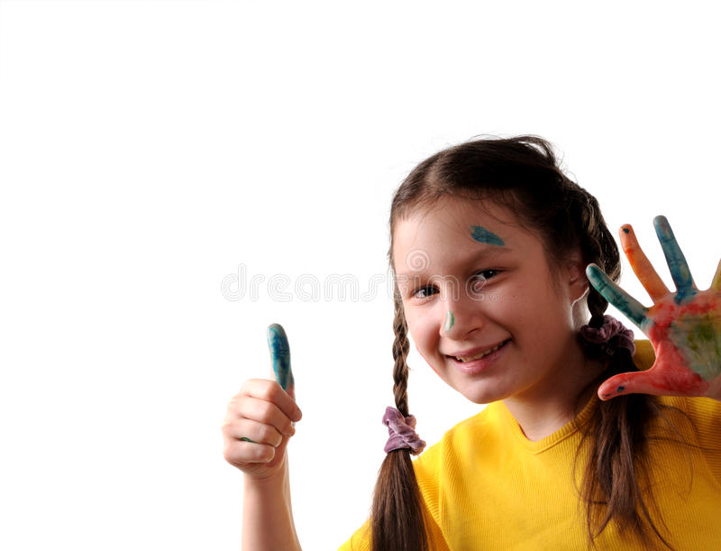 Download Joy. Preteen Girl Playing With Colors Stock Photo - Image: 11982732