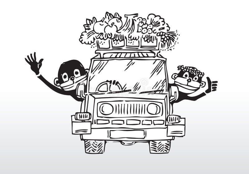 Joy ride - happy family. Hand drawn illustration of two happy monkeys driving home vector illustration