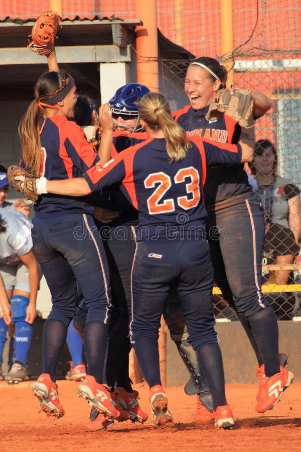 Joy in softball royalty free stock photography