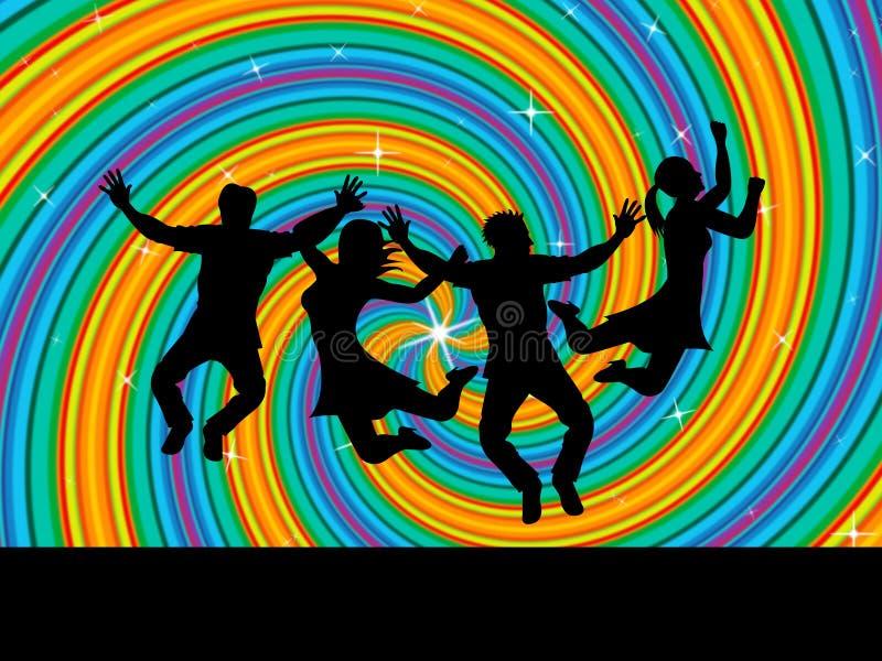 Joy Swirl Represents Happiness Joyful y jóvenes libre illustration